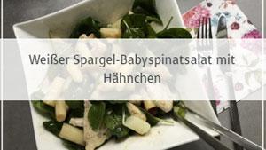 Weißer Spargel-Babyspinatsalat mit Hähnchen