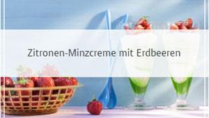 Zitronen-Minzcreme mit Erdbeeren