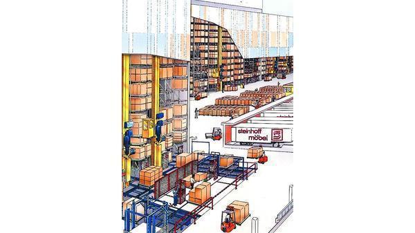 Im Hochregallager Ist Auf 24 000 Paletten Platz Für Möbel. Es Steht Auch  Dritten Zur Verfügung.