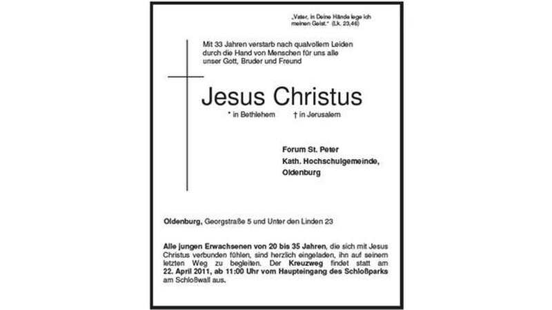 todesanzeige f252r christus soll an leid in der gesellschaft