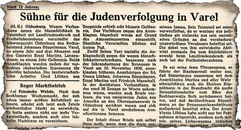 Pogromnacht 1938 In Varel: Täter mutiert vor Gericht zum Opfer - Nordwest-Zeitung